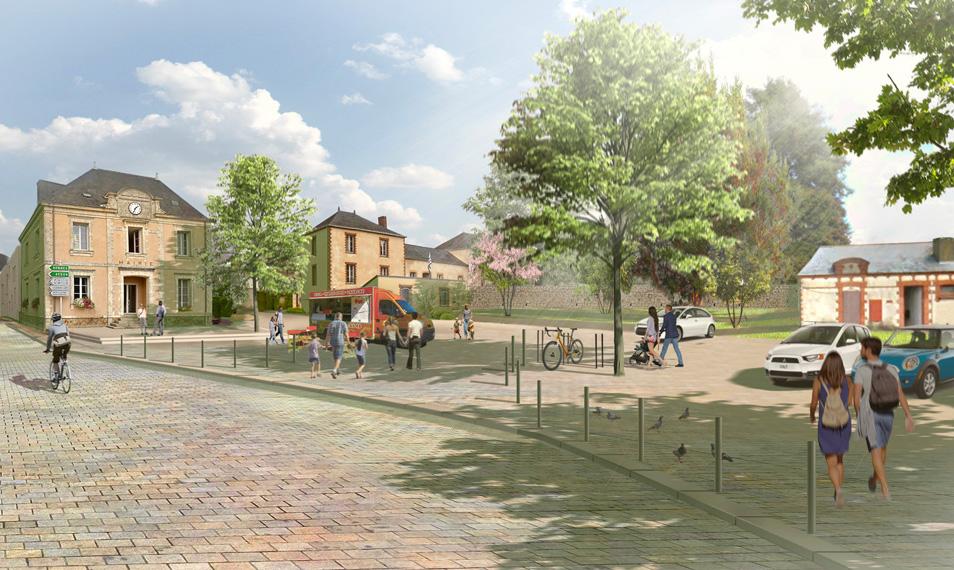 Découvrez les images du réaménagement de la place de l'Abbatiale à Saint-Gildas-des-Bois